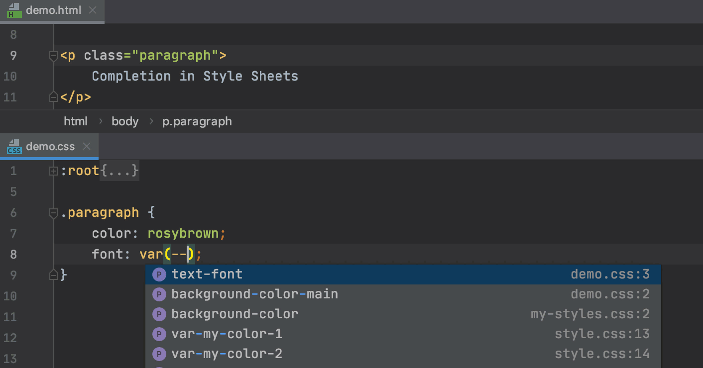 Style Sheets: basic code completion
