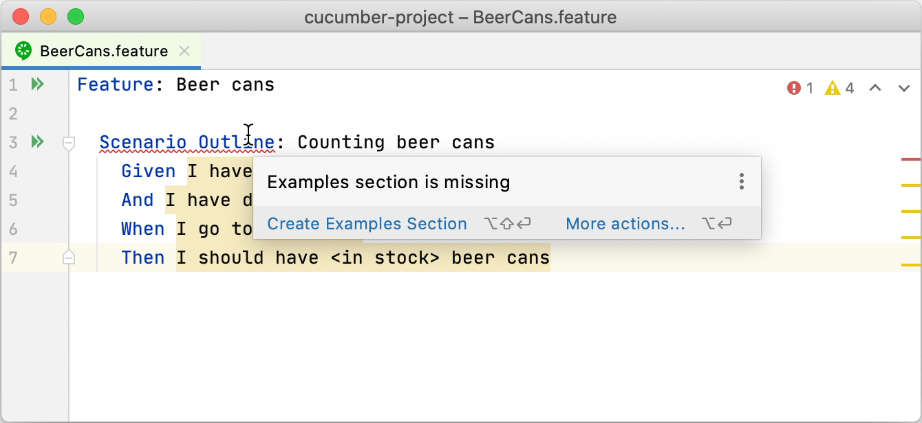 Creating the Examples section using context actions