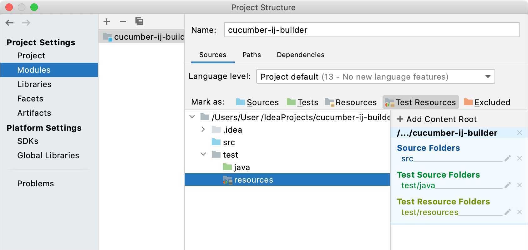 Test Resources Root created in the Project Strucuture dilaog