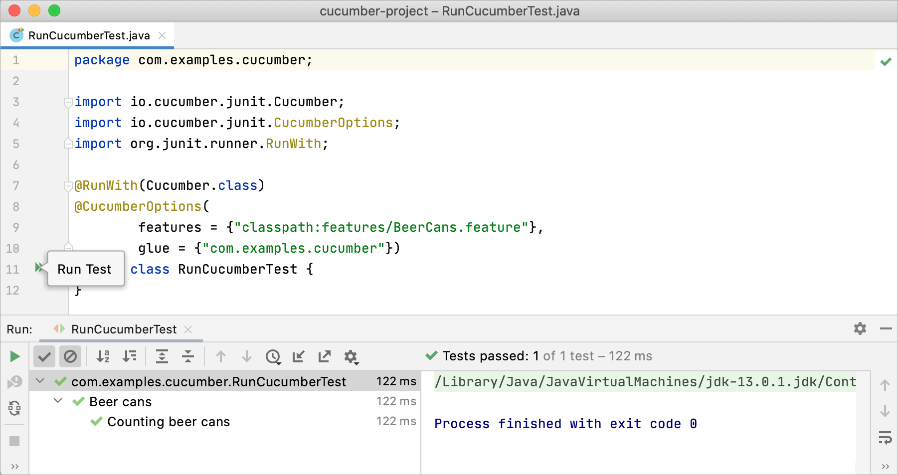 Running Cucumber tests with JUnit