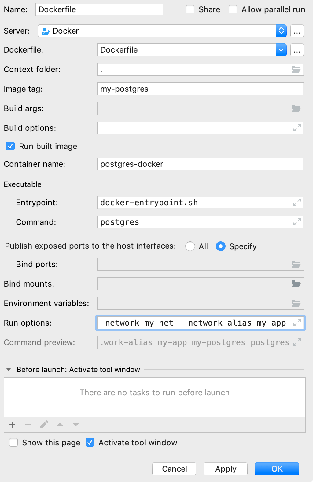 The Edit Deployment Configuration dialog with command-line options