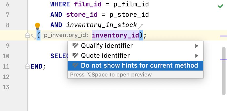 Configure the parameter hints exception list