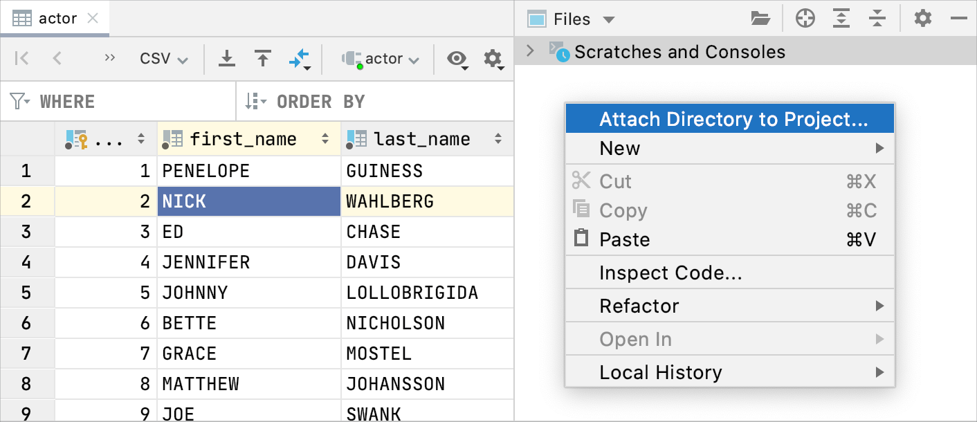 Attach a directory with SQL files