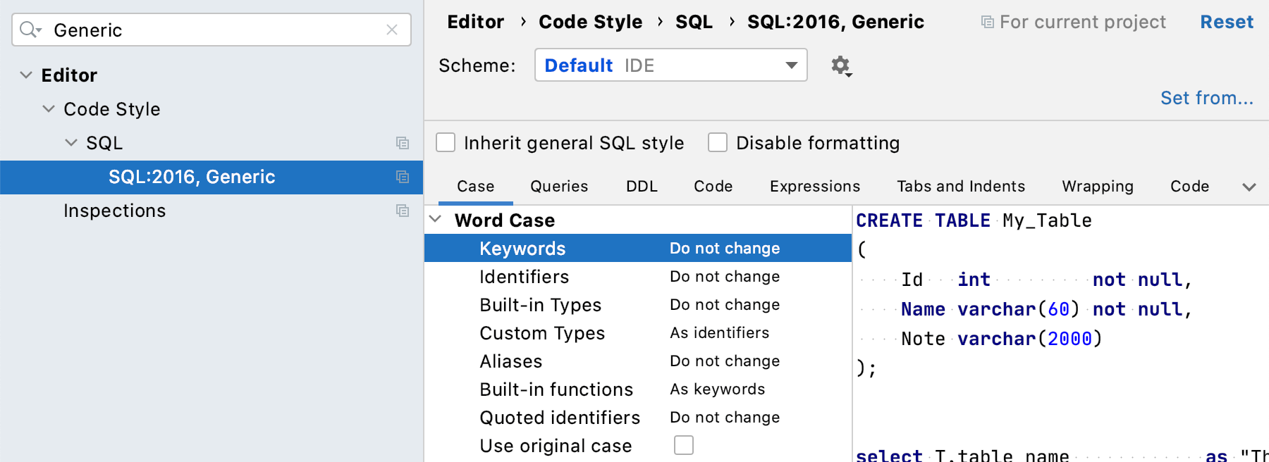 code style to the Generic
