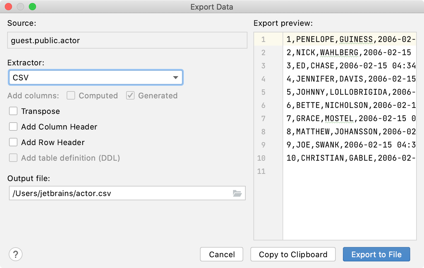 the Export to the clipboard action is in the context menu
