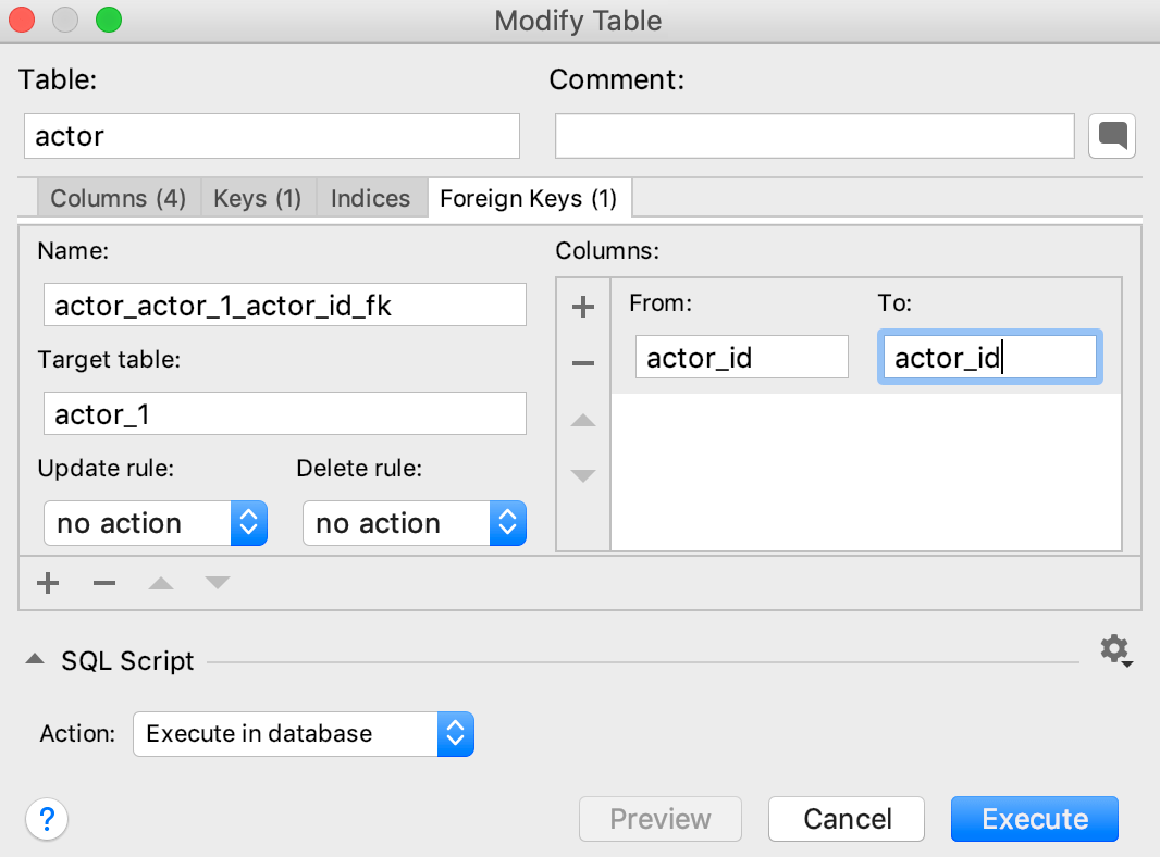 Create a foreign key