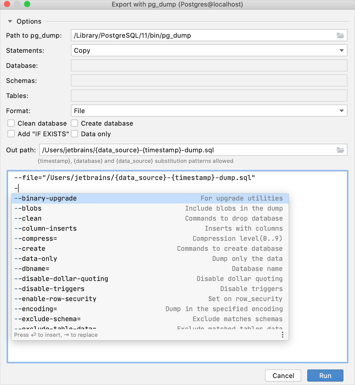 Create a full data dump with pg_dump
