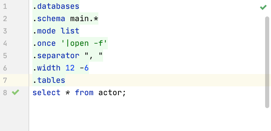 Dot-commands in the IDE