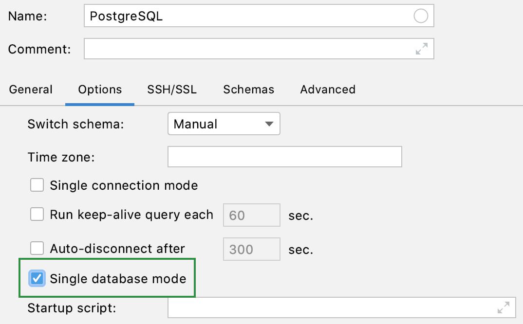 Enable the single database mode