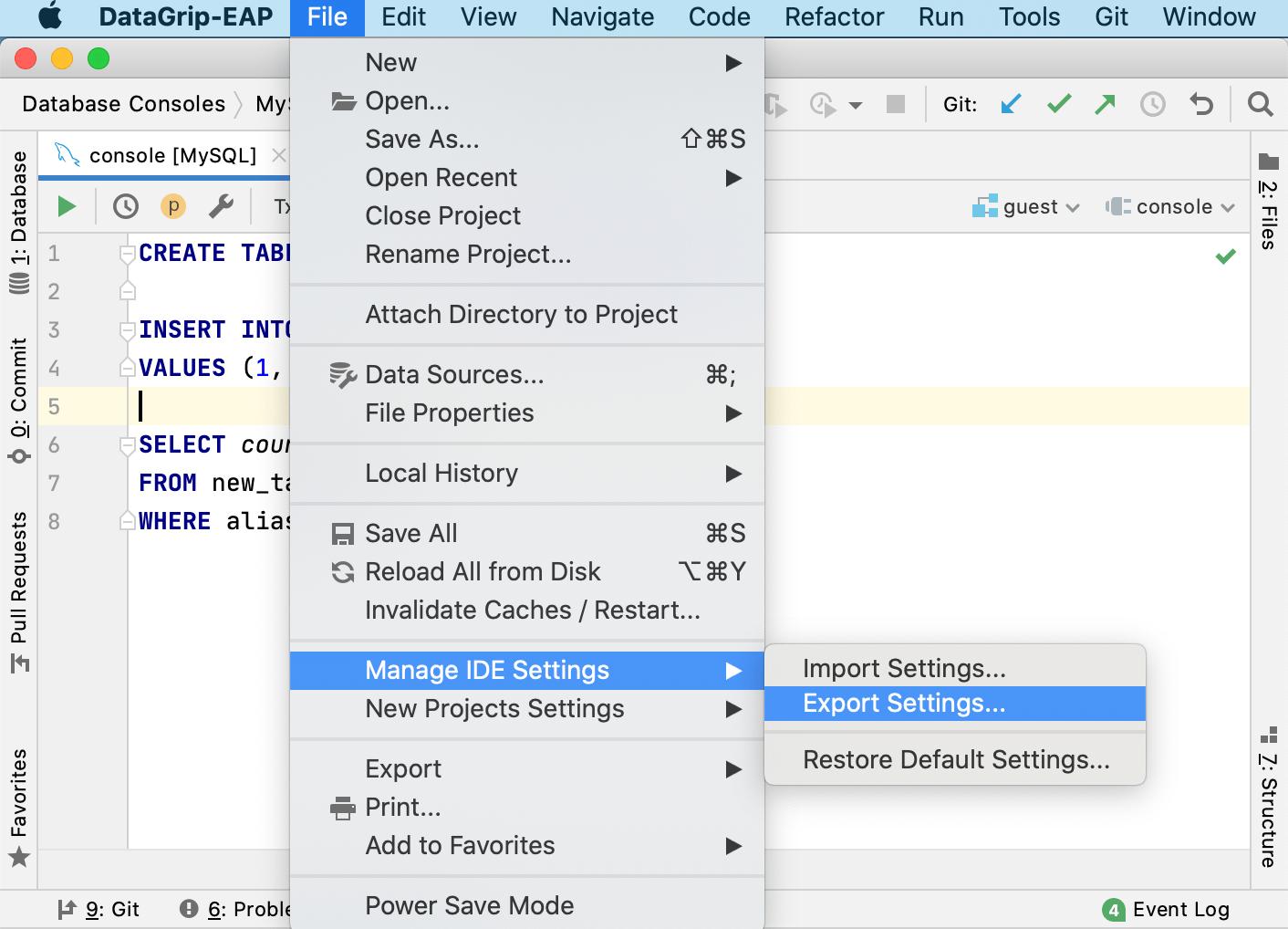 Export live templates