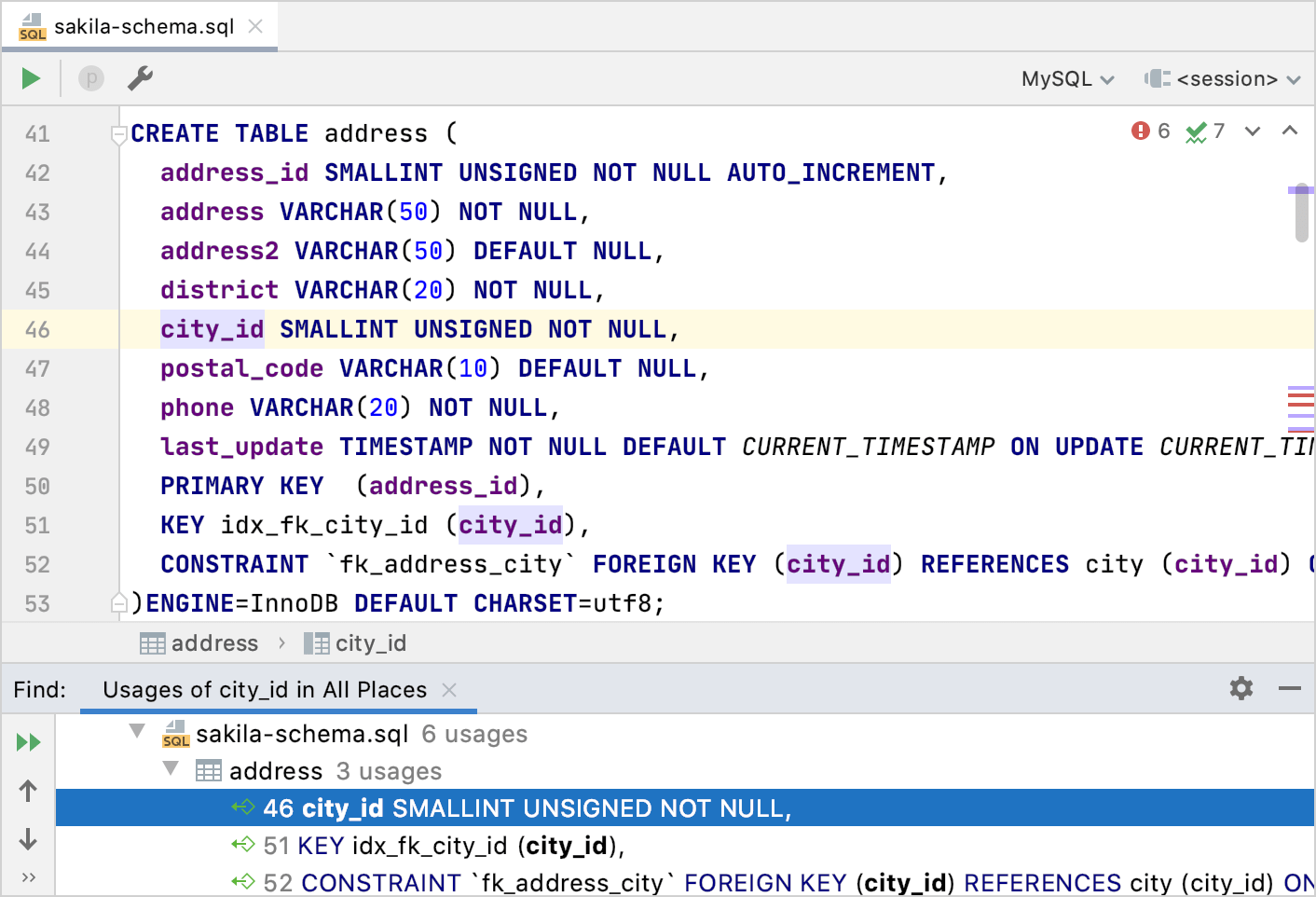Found Occurrences in the Find tool window