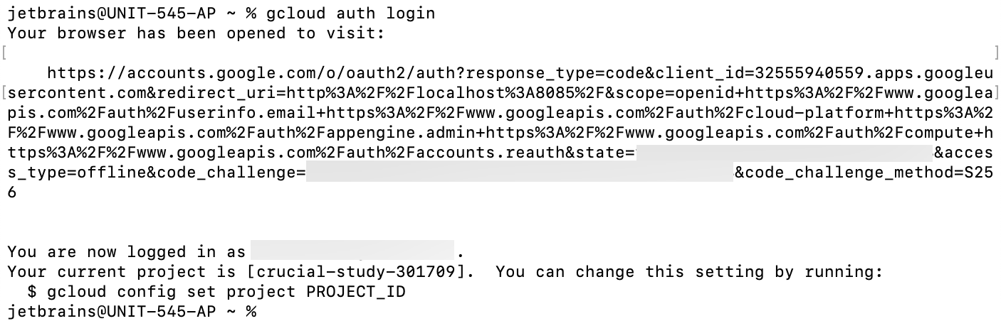 Authenticate the gcloud tool