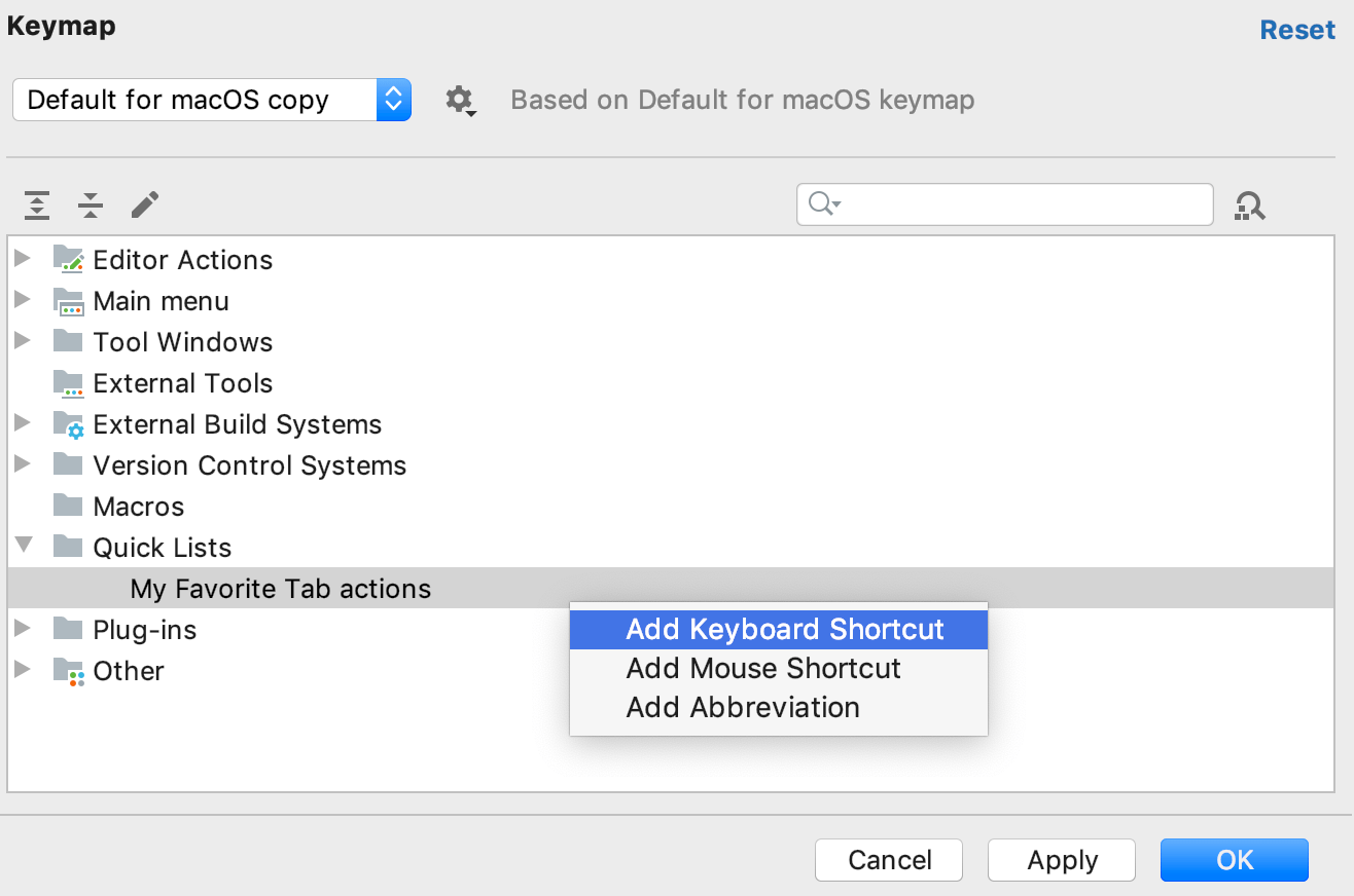the Quick lists settings