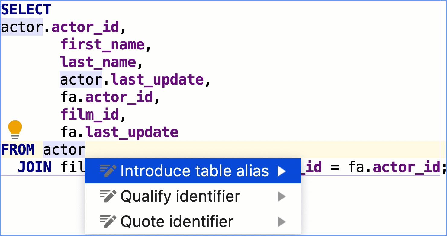 Introduce a table alias