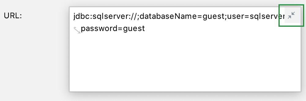 JDBC URL field can be expanded