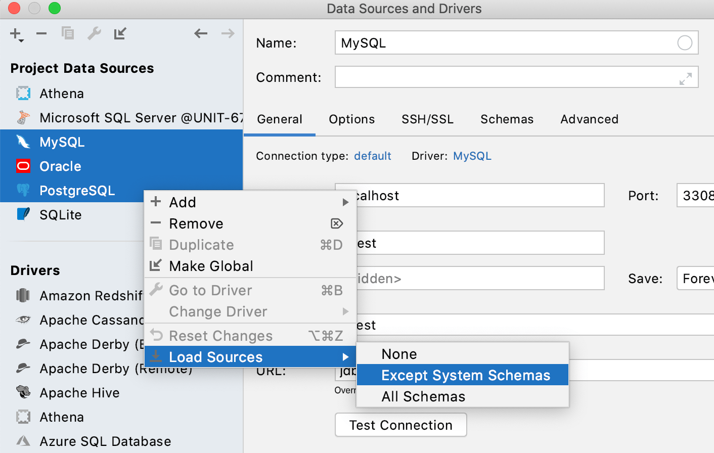 Load source code for a data source