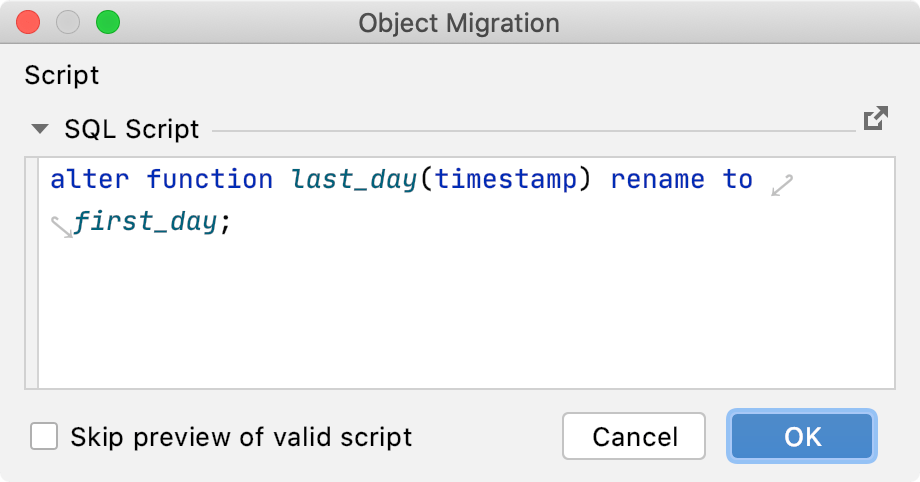 Migrate a database object