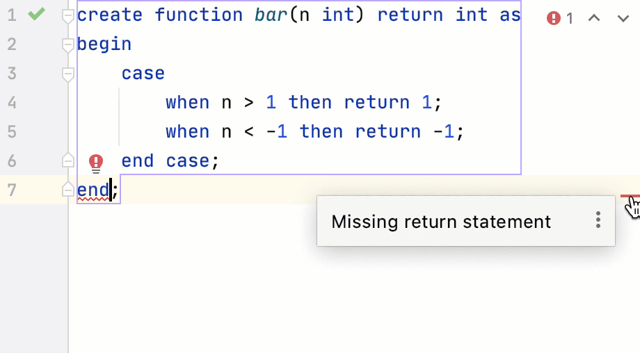 Missing return statement