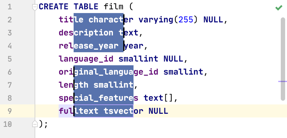 DataGrip: Selecting multiple rectangular fragments of text with the mouse