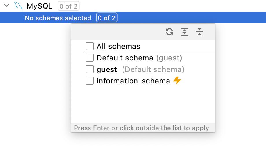 No schemas are selected