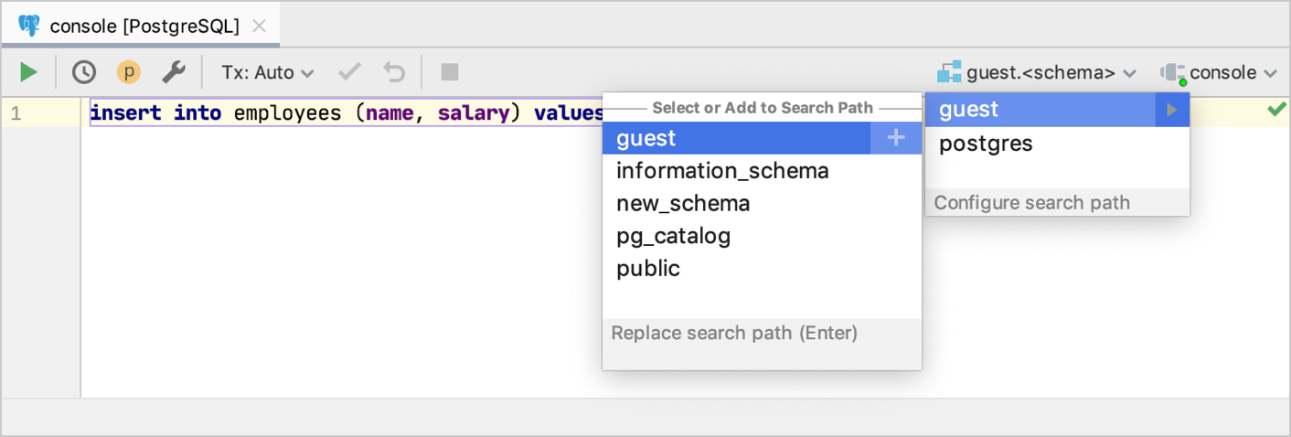 Select a search path for PostgreSQL