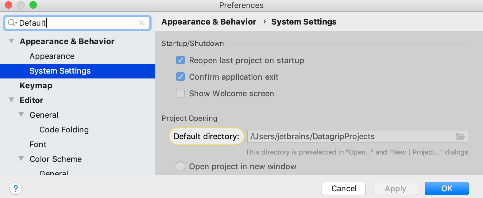 Setting a default directory