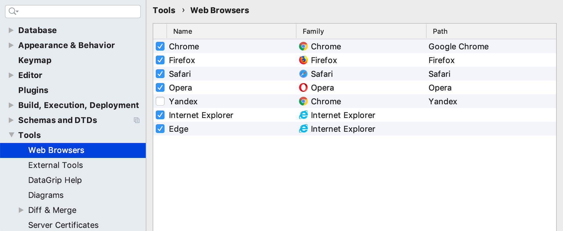 The Web Browsers page in Preferences