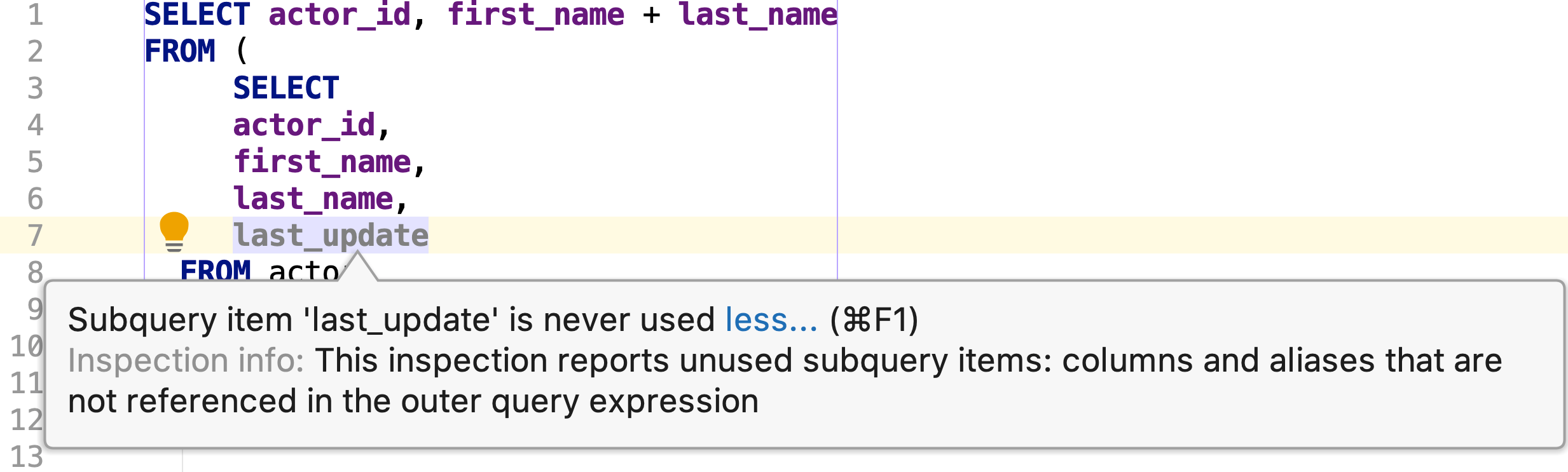 Unused subquery item