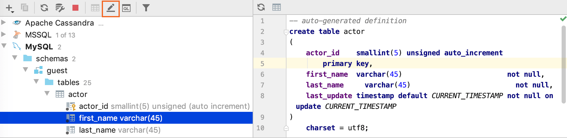 Edit the DDL definition of a database object
