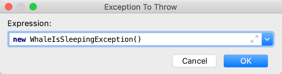 Exception To Throw dialog