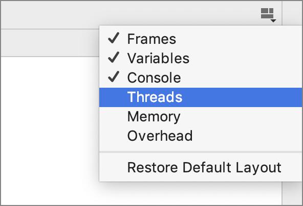 Layout options menu