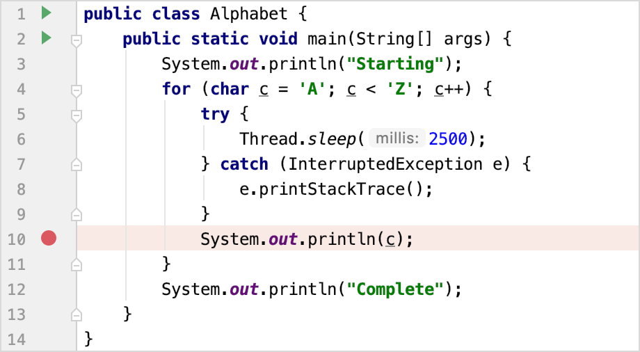 Setting a line breakpoint at line 10