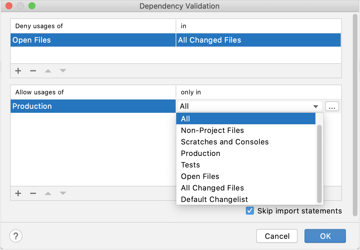 the Dependency Validation dialog