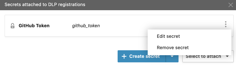 Secrets in Account settings