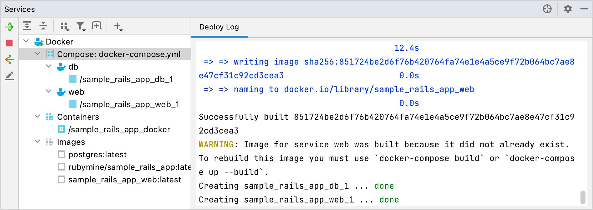 Docker tool window: Compose
