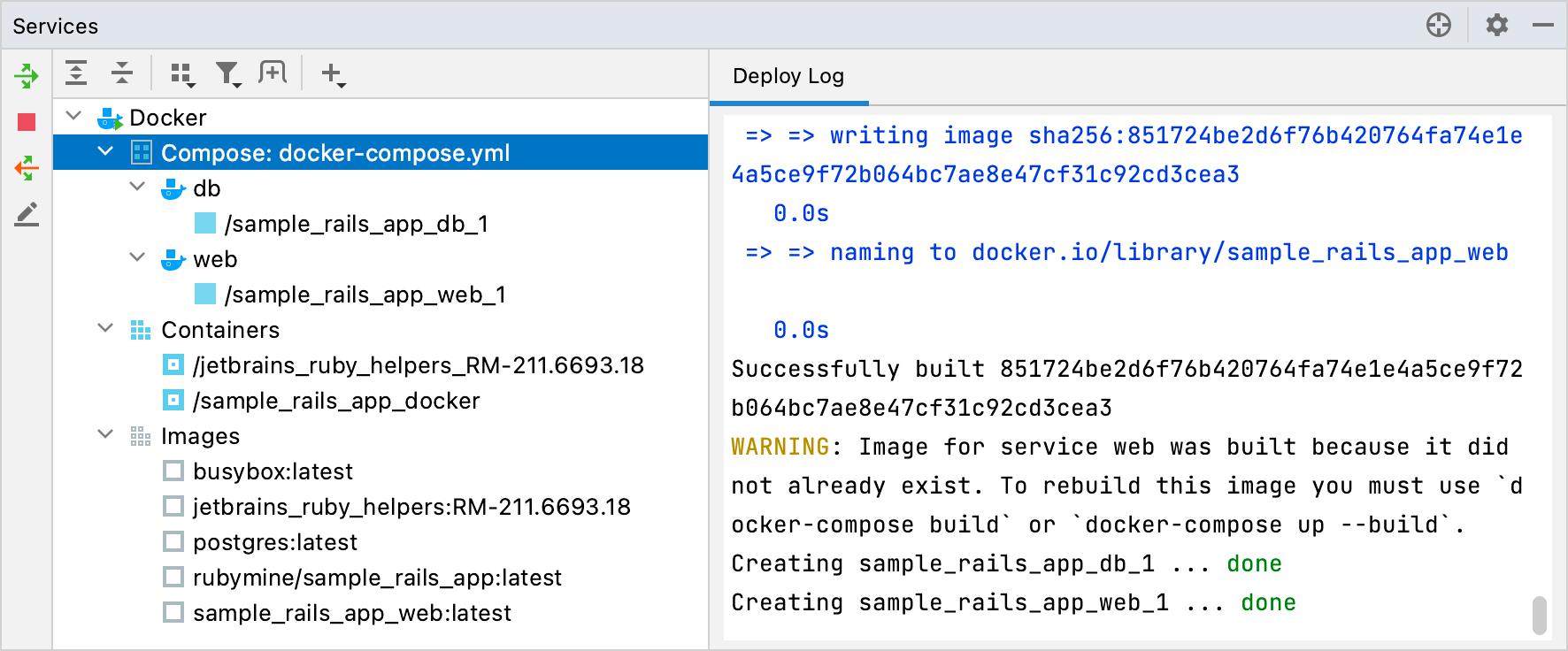 Docker tool window: Helpers