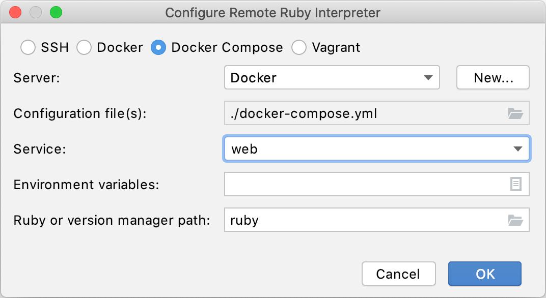 Configure remote Ruby interpreter: Docker Compose