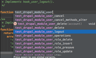 Drupal Hook Name Completion