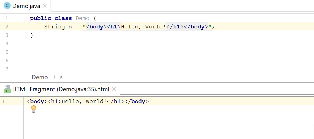 Editing the injectedcode fragment in the dedicated editor