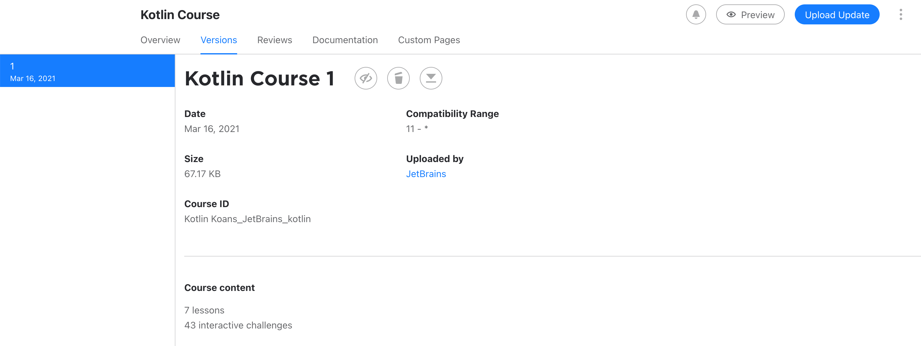 Edu courses at marketplace versions tab