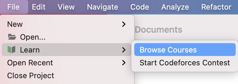 Edu file menu browse courses