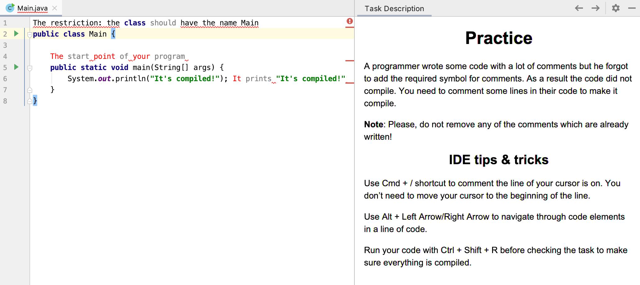 Edu task description java intro