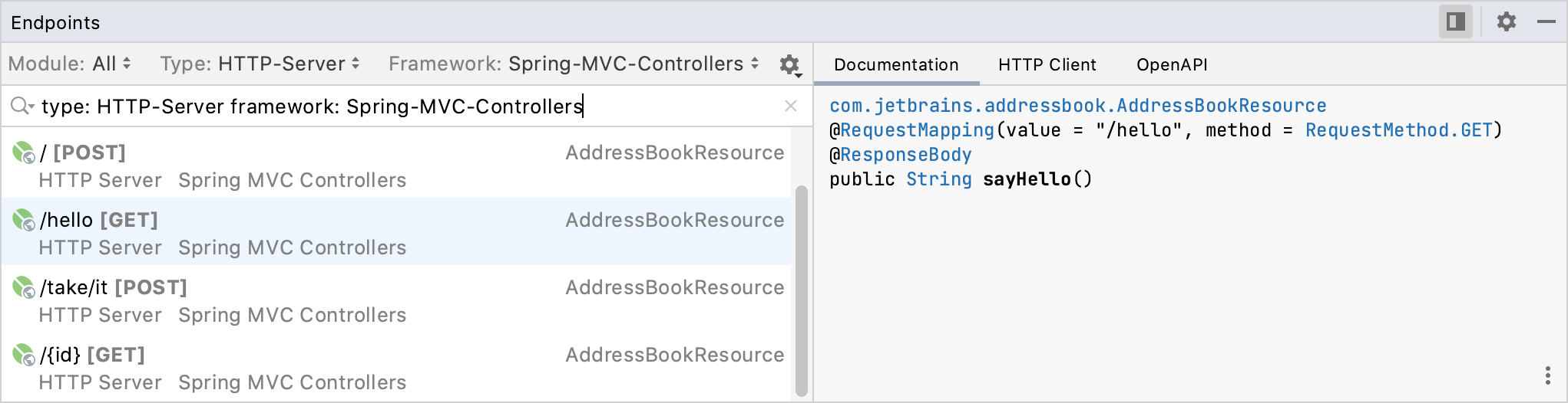 Endpoints tool window: Documentation tab