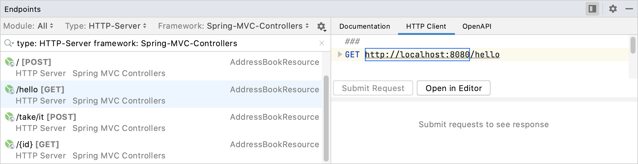 Endpoints tool window: HTTP Client tab