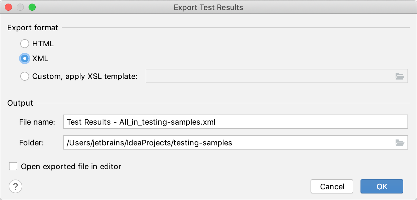 Exporting test results to a file