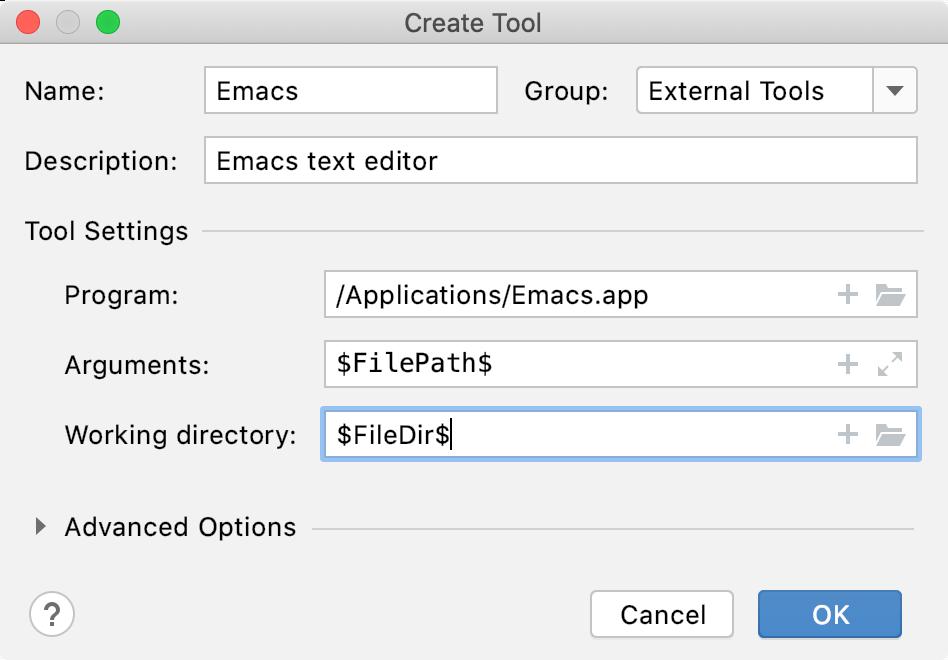 Adding emacs as an external editor on macOS