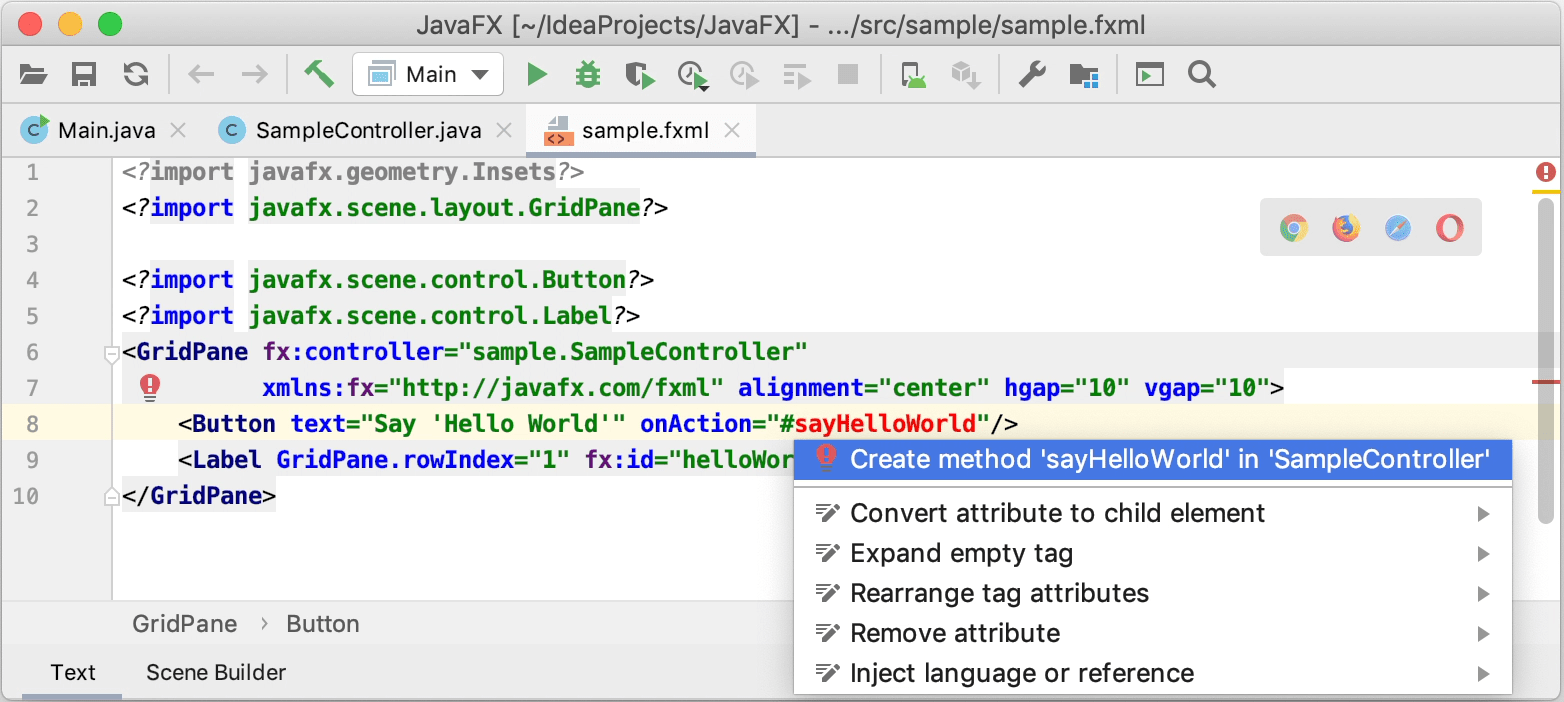Adding the method declaration and the label