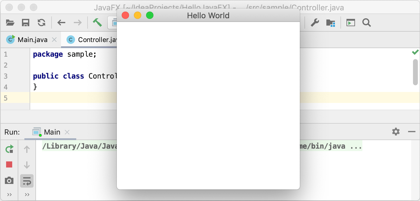 The sample application is running in the IDE