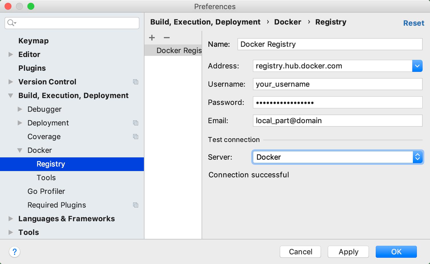 The Docker Registry dialog