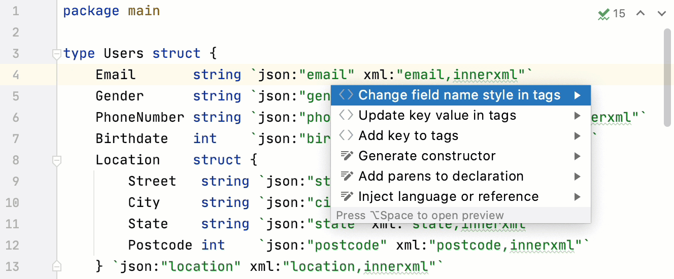 Change code style of tag keys